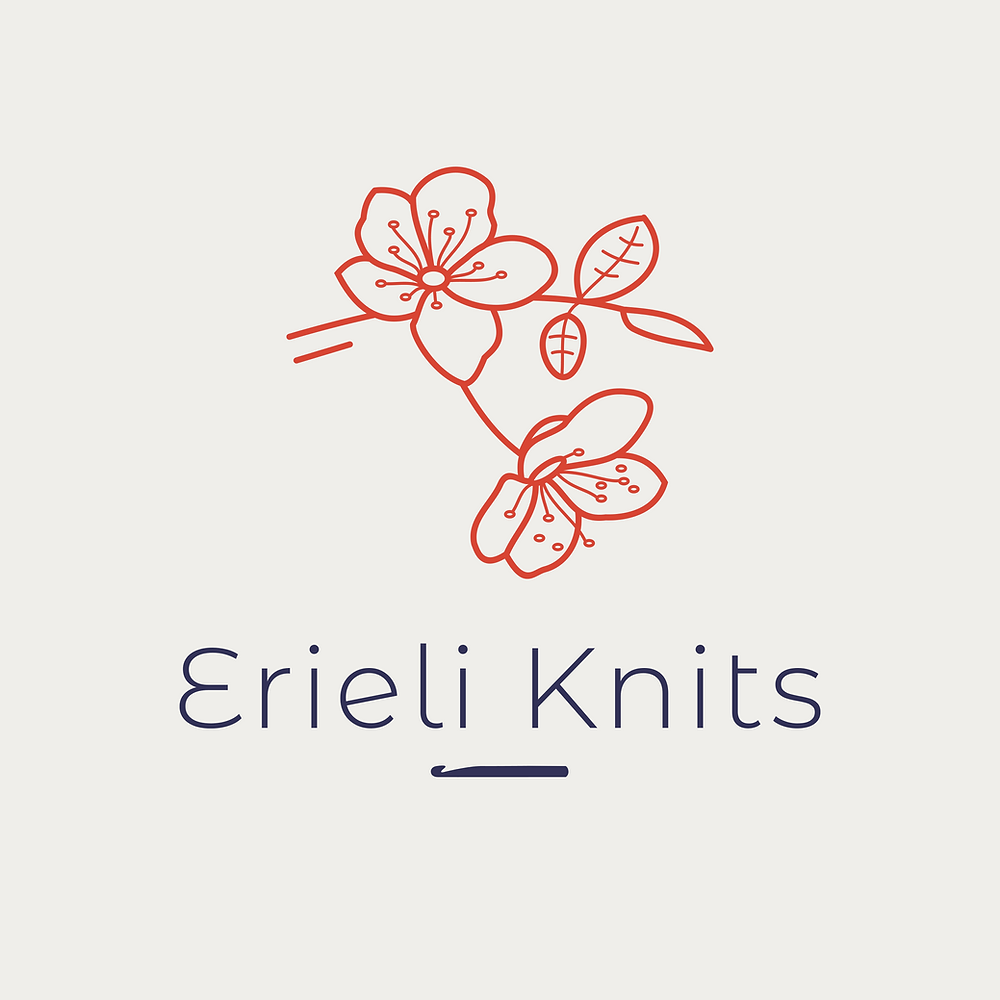 "Erieli Knits logo. A sakura branch, crochet hook, and the words ""Erieli Knits"""
