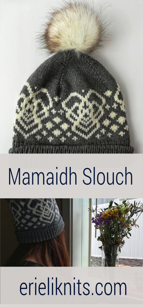 a stranded colorwork hat with the mamaidh motif and varied size of diamonds on it.