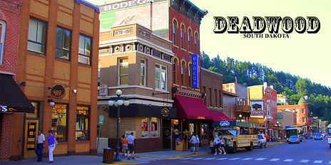 Deadwood South Dakota postcard picturing westeern-style downtown