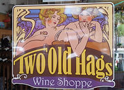 two old hags wine shop sign with picture of 2 young art-deco style women