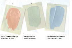 pale peach, green and blue color swatches
