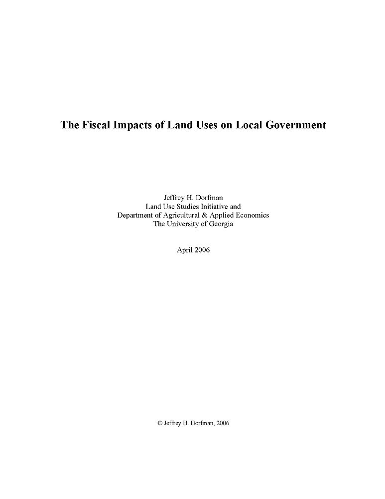 fiscal impacts of land use on local gove