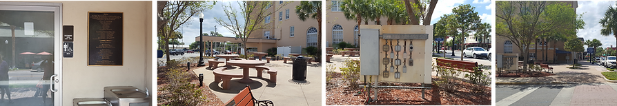 Vignettes of street amenities in Leesburg: water fountains, seating, electrical panel, shaded bench