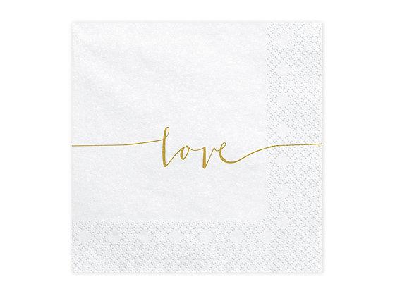 Gold Love Napkins - Pack of 20