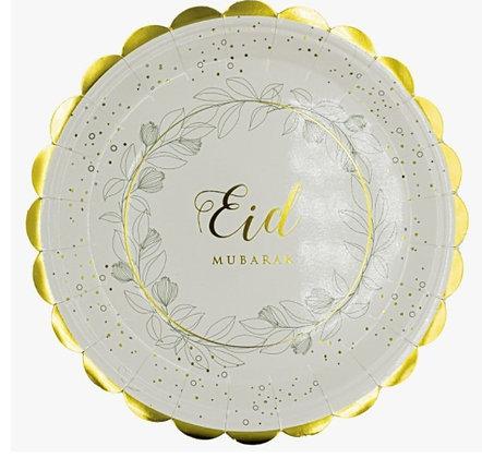 Eid Leafs Eid Mubarak Plates - Pack of 6