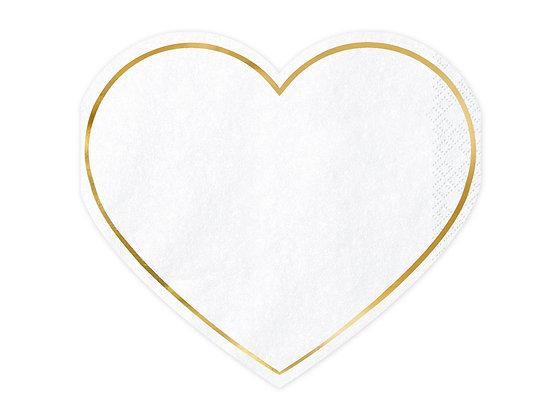 White Heart Napkins - Pack of 20
