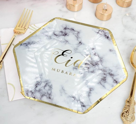 Eid Gold Marble Eid Mubarak Plates - Pack of 6