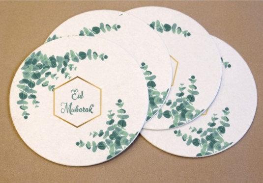 Eid Mubarak Eucalyptus Coasters Pack of 6