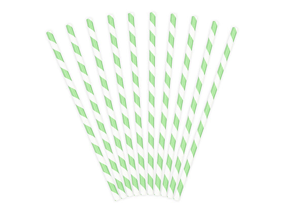 Green Striped Paper Straws - Pack of 10
