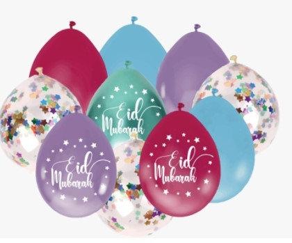 Eid Mubarak Confetti Balloon Set Pack of 10