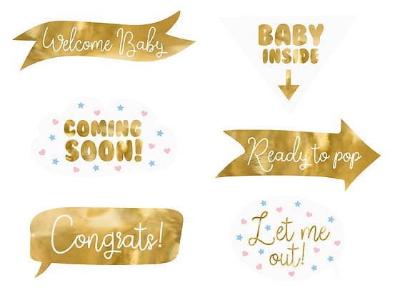 Baby Shower Photobooth Props - Pack of 6