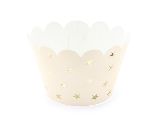 Gold Stars Cupcake Wraps - Pack of 6