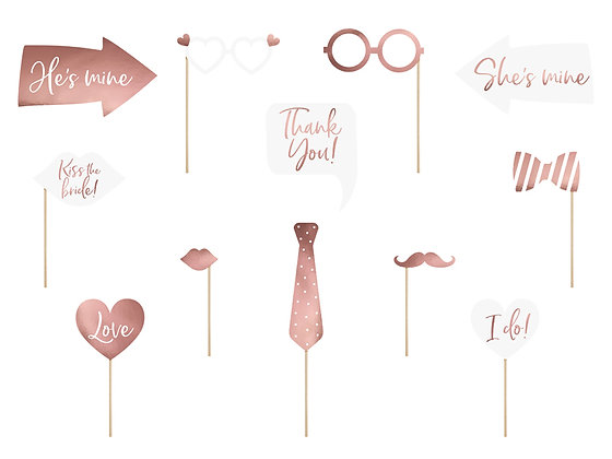 Wedding Photobooth props - Pack of 12