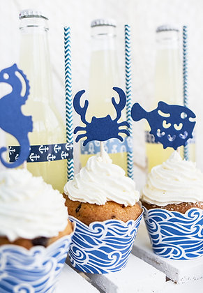 Blue Waves Cupcake Wraps - Pack of 6