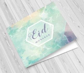 Watercolour Eid Mubarak Greeting Card