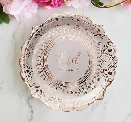 Eid Desert Rose Eid Mubarak Plates - Pack of 6