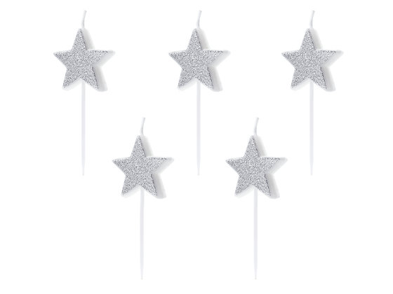 Silver Star Candles - Pack of 5