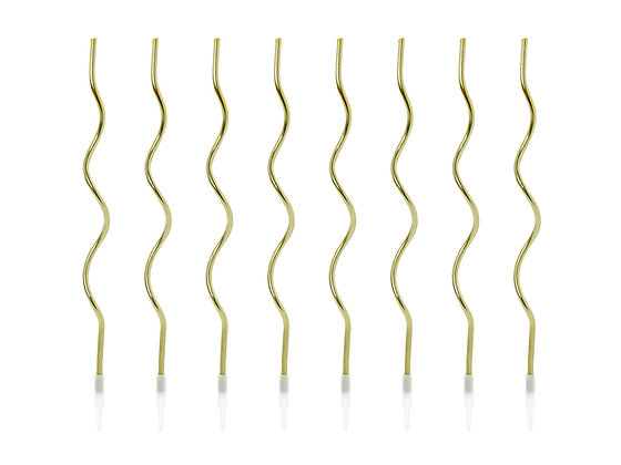 Gold Curly Candles - Pack of 8