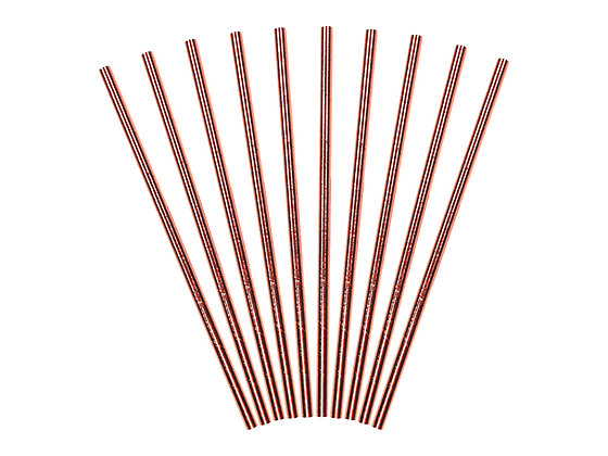 Rose Gold Paper Straws - Pack of 10