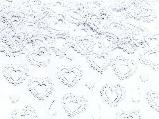 White Confetti Hearts