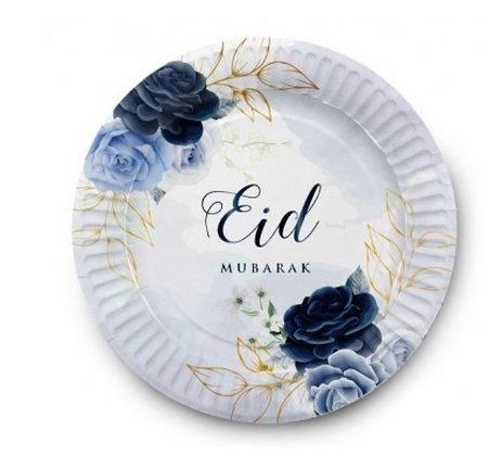 Blue Peonies Eid Mubarak Plates - Pack of 6