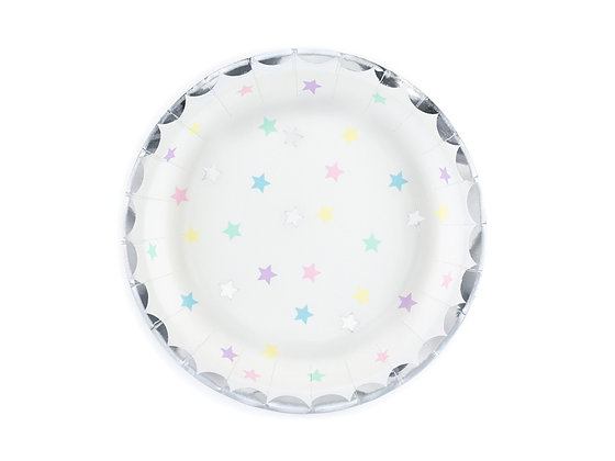 White Plates with Multicoloured Stars 18cm - Pack of 6