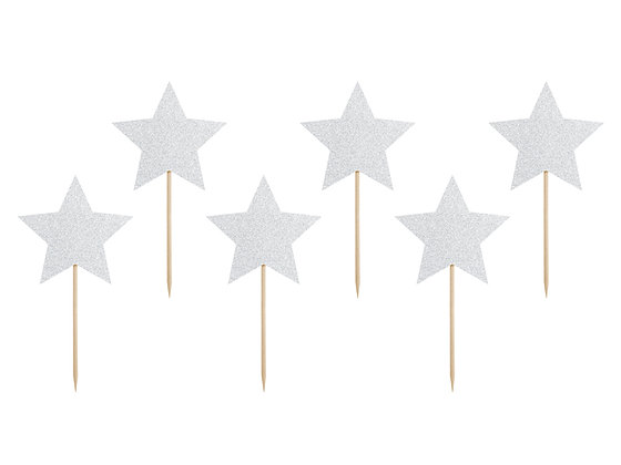 Silver Stars Cupcake Toppers - Pack of 6