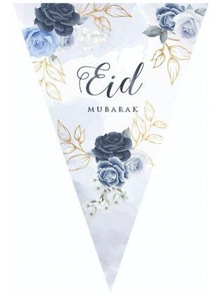 Blue Peonies Eid Mubarak Bunting