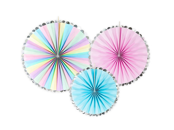 Multicoloured Fan Decorations - Pack of 3