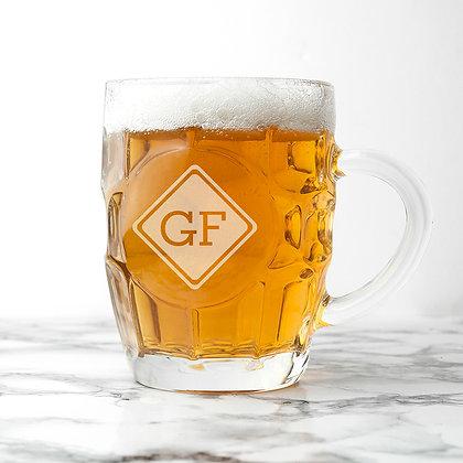 Personalised Diamond Monogrammed Dimpled Beer Glass