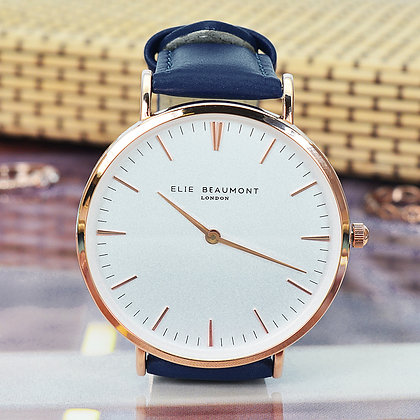 Elie Beaumont Leather Watch - Navy/White