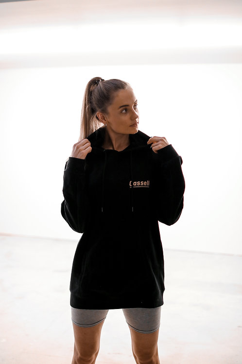 Cassell small logo lines hoodie black