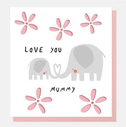 Card - Love You Mummy Elephants