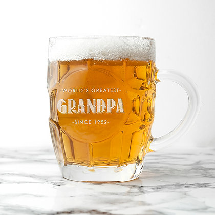 Personalised Father's Day Dimpled Beer Glass