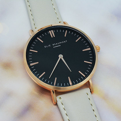 Elie Beaumont Leather Watch - Stone/Black