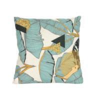 Gisela Graham Teal Palm Print Cushion With Pad