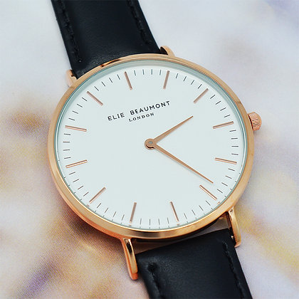 Elie Beaumont Leather Watch - Black/White