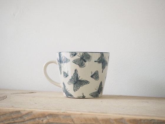 White Butterfly Print Mug