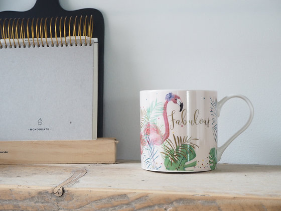 Belly Button China Mug - Fabulous Flamingo