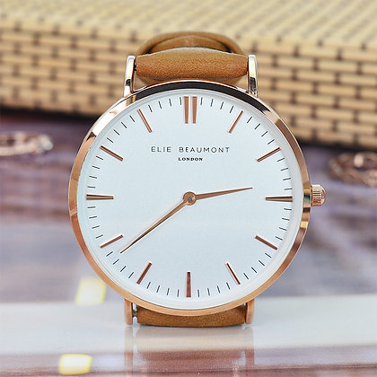 Elie Beaumont Leather Watch - Camel/White