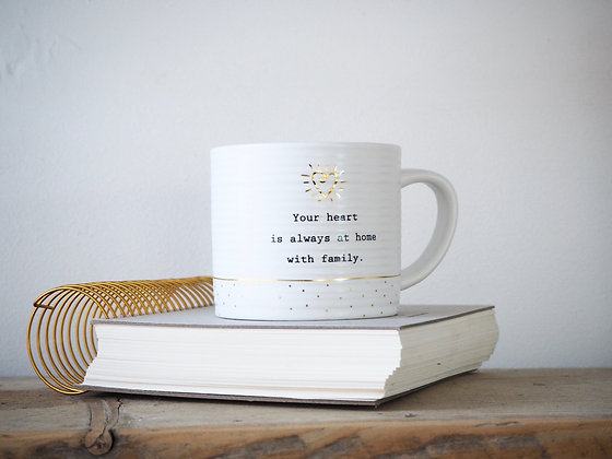 Thoughtful Words Mug - Your Heart Is Always At Home With Family
