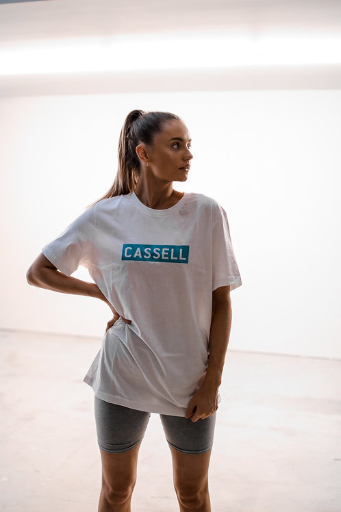 Cassell box logo t shirt white