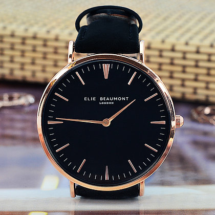 Elie Beaumont Leather Watch - Rose/Black