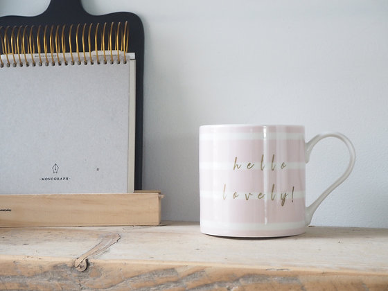 Belly Button China Mug - Pink Stripe Hello Lovely