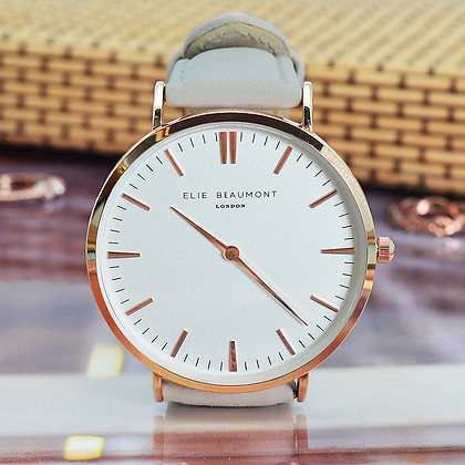 Elie Beaumont Leather Watch - Stone/White
