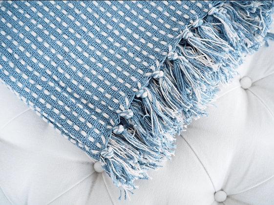 Gisela Graham Blue Woven Stab Stitch Cotton Throw