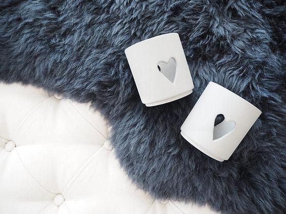 Grey Matt Porcelain Heart T-Lite Holder