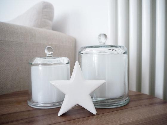 Gisela Graham Luxury White Glass Candle Pot - Medium