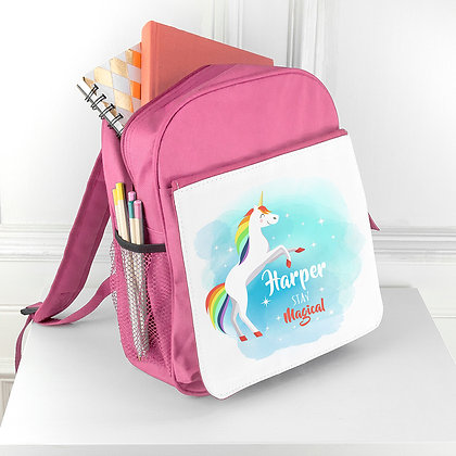 Personalised Rainbow Unicorn Backpack