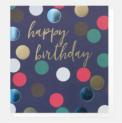 Card - Happy Birthday Blue Spots